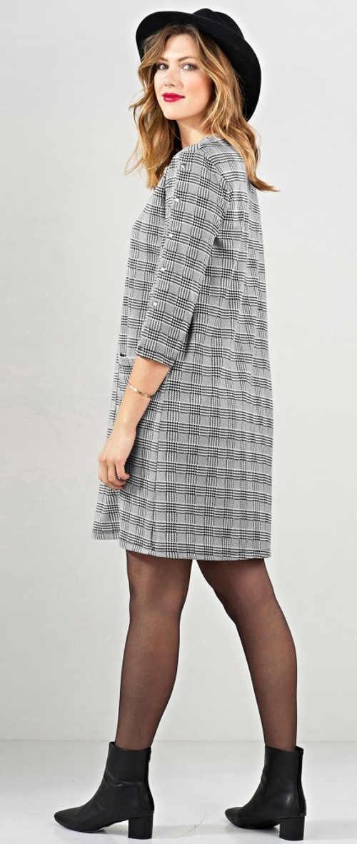 Volné karované šedé šaty