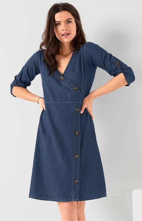Zavinovací džínové dámské šaty