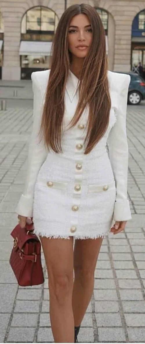 Business mini šaty s dlouhými rukávy