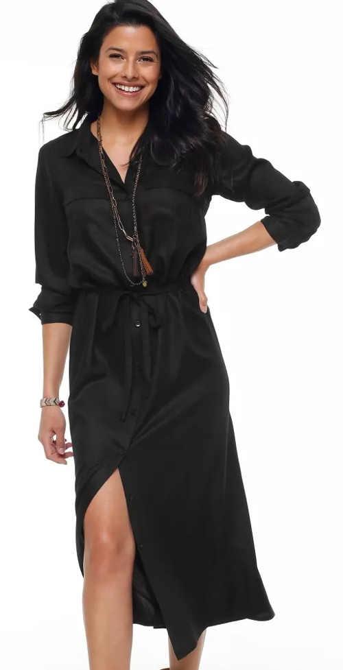 Dlouhé černé košilové šaty s tříčtvrtečními rukávy