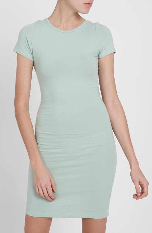 Jednobarevné světle modré dámské krátké šaty
