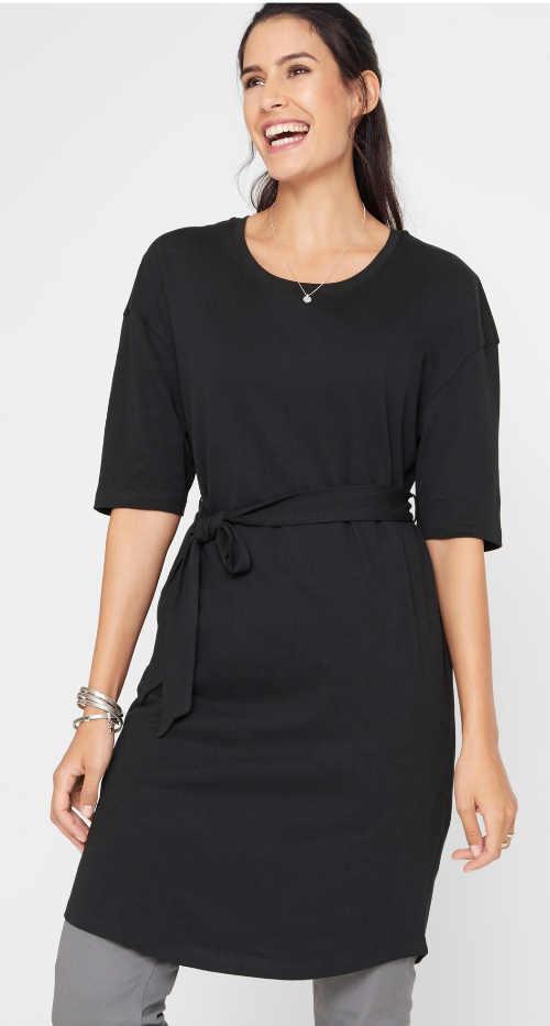 Levné černé bavlněné šaty s páskem