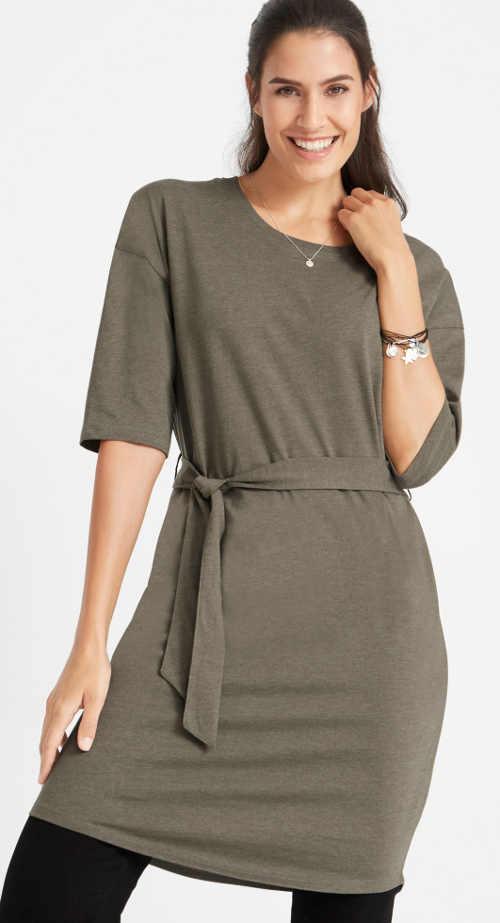 Oversized jednobarevné dámské šaty k leginám