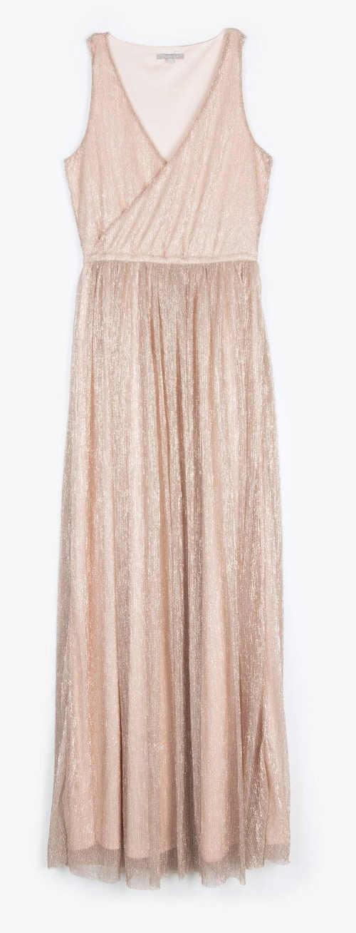 Ramínkové večerní šaty se skládanou splývavou sukní