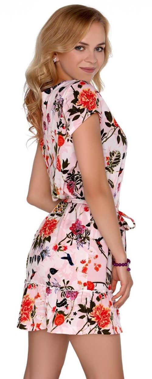 Růžové letní dámské šaty s květinovým potiskem