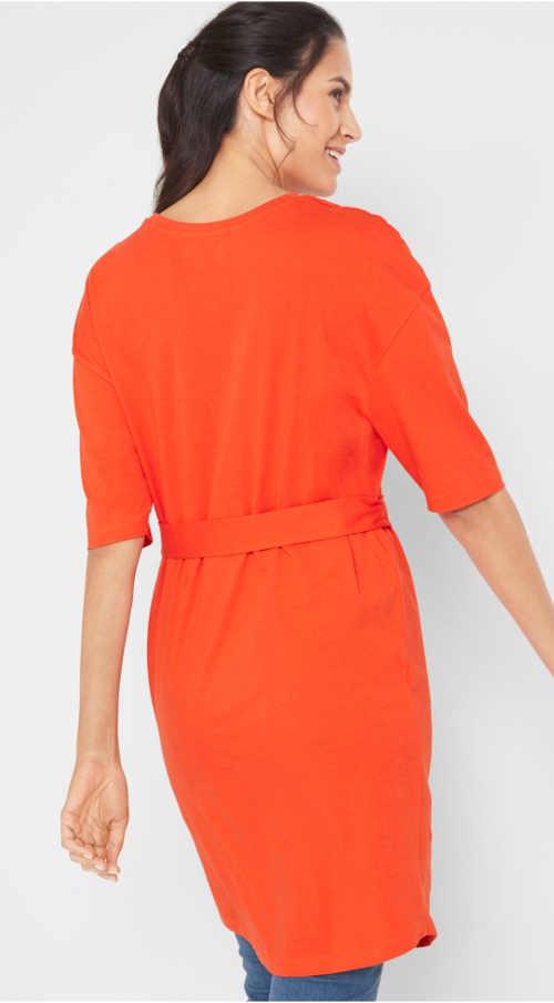 Zářivě oranžové jednobarevné dámské šaty