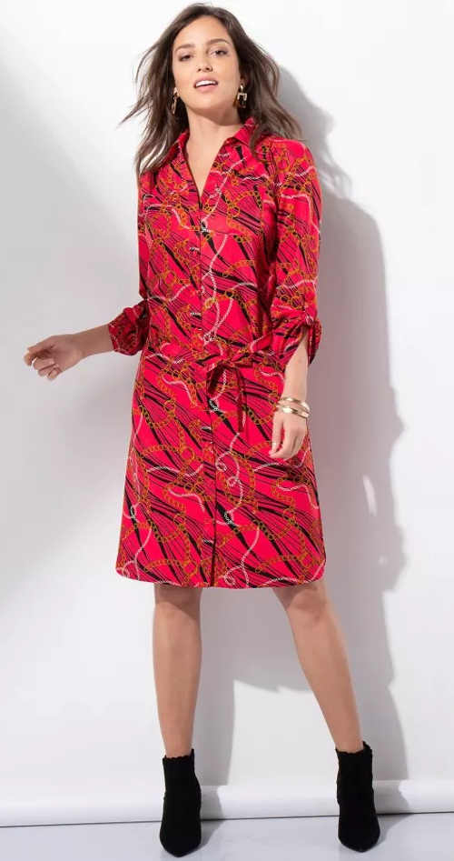 Celorozepínací červené šaty na knoflíky