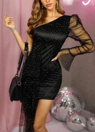 Černé krátké plesové šaty na jedno rameno