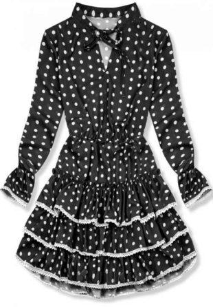 Černé puntíkaté šaty s volánovou sukni a dlouhými rukávy