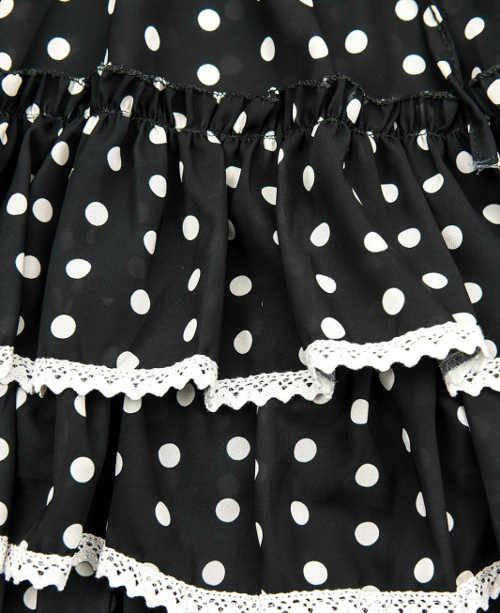 Černobílé dámské šaty s krajkou volány a puntíky