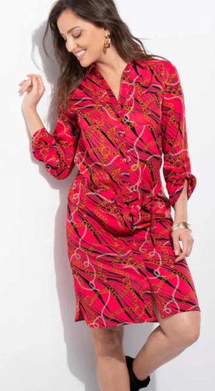 Červené košilové dámské šaty s límečkem