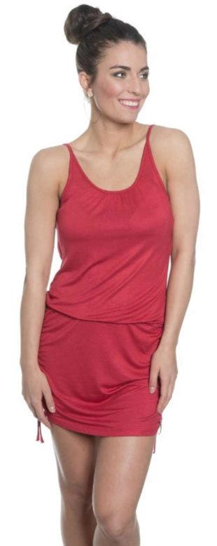 Červené letní šaty s pružnou gumou v pase