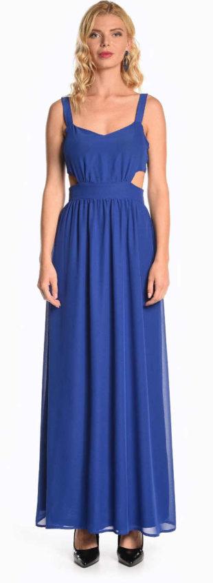 Dlouhé modré šaty na ramínka s průstřihy na bocích