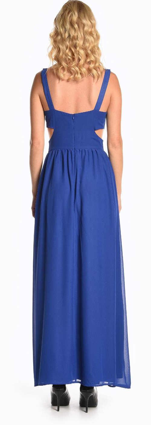 Dlouhé modré společenské šaty s volnými zády