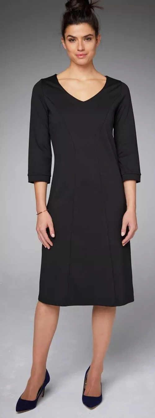 Jednobarevné černé dámské šaty s tříčtvrtečním rukávem