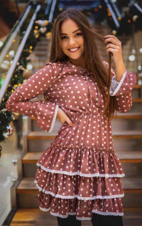 Krátké dámské šaty s volány a puntíky