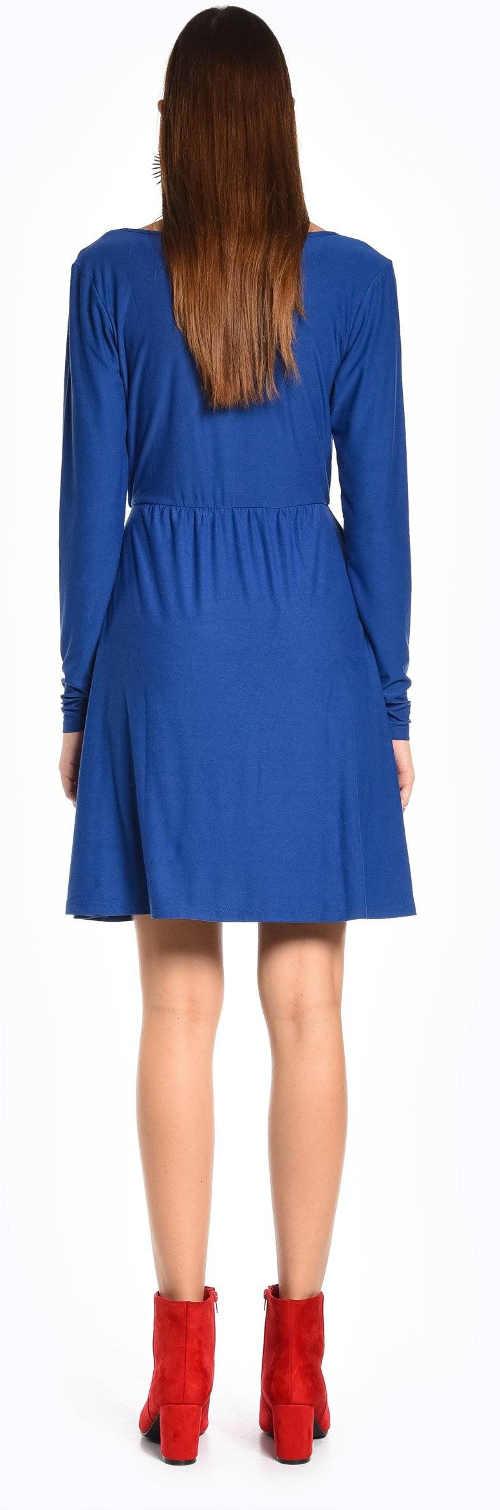 Kratší modré dámské šaty s dlouhými rukávy