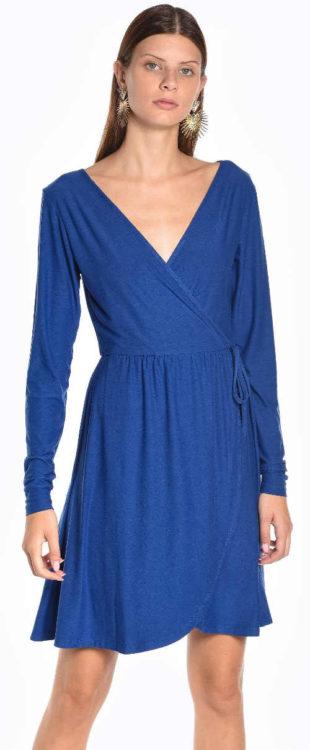 Levné modré zavinovací šaty s dlouhým rukávem