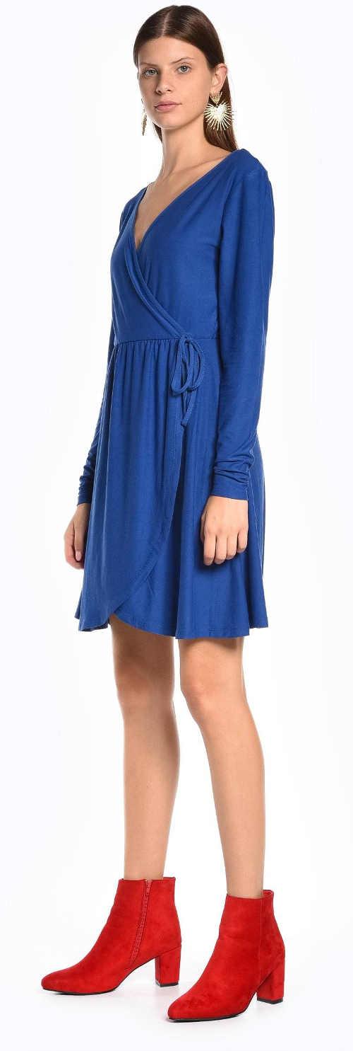 Modré zavinovací šaty na zavazování