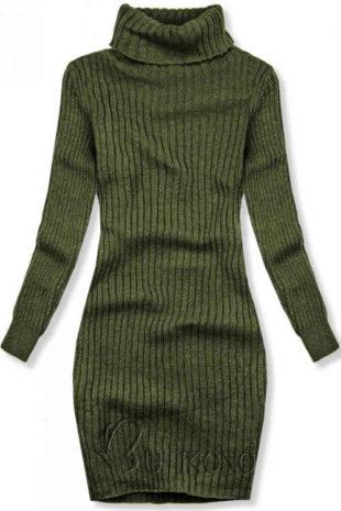 Pletené zimní šaty s vysokým rolákem