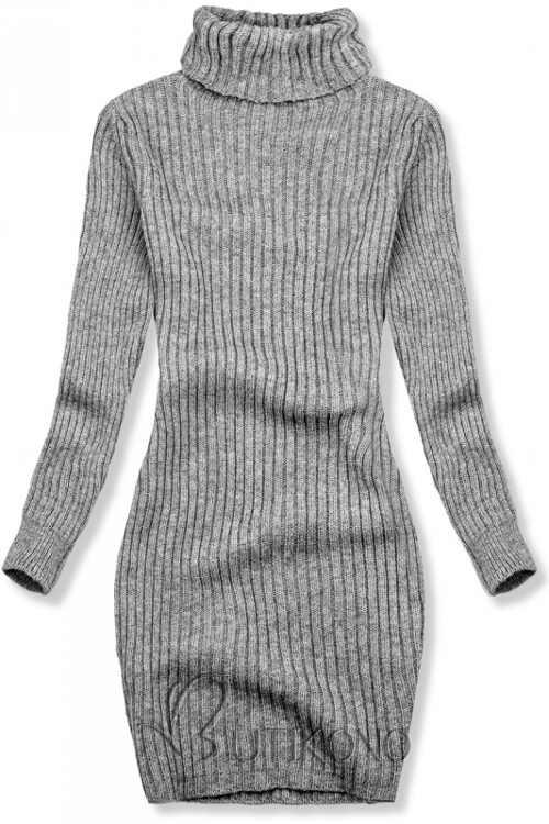 Šedé pletené zimní šaty k legínám