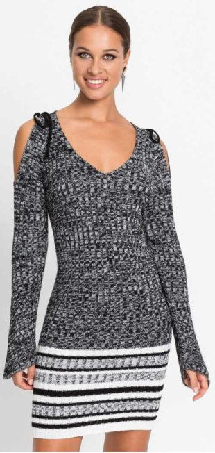 Teplé svetrové dámské šaty s průstřihy na ramenou