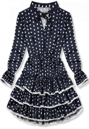 Tmavě modré dámské šaty s puntíky s krajkovými volány