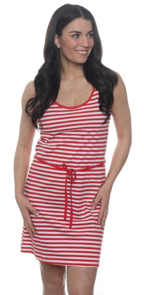 Zlevněné červené pruhované letní šaty SAM 73