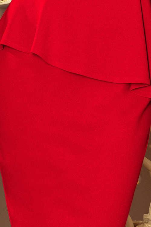 Asymetrický ozdobný nařasený volánek v pase šatů