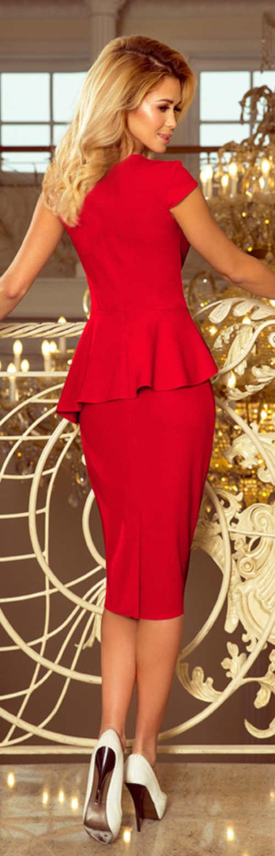 Červené plesové šaty s ozdobným volánem v pase