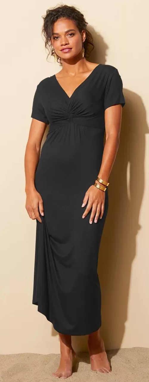 Dlouhé černé jednobarevné dámské šaty s překřížením pod prsy