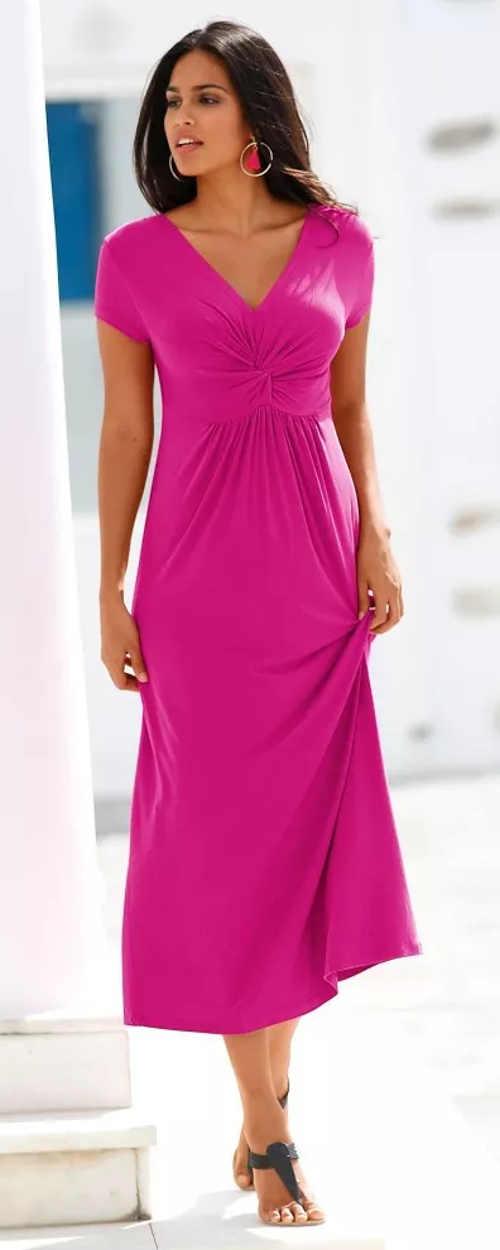 Dlouhé jednobarevné šaty s výstřihem do V