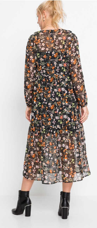 Dlouhé květované šaty z lehounkého šifónu