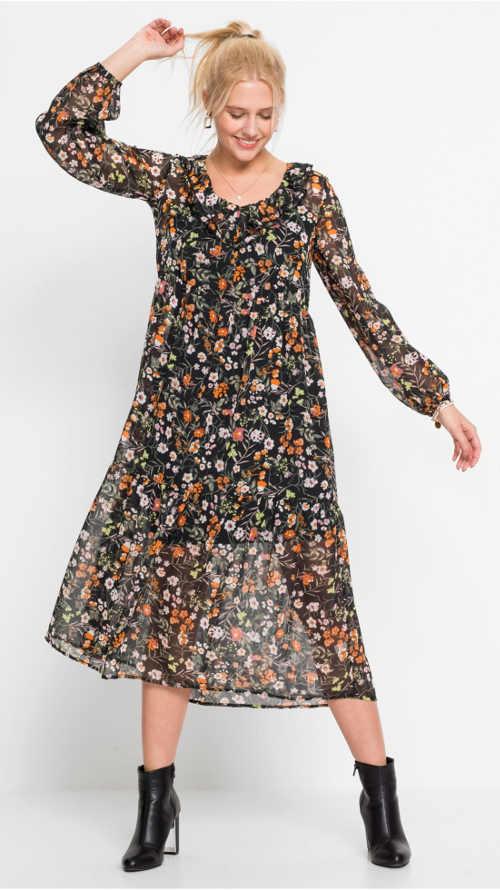 Dlouhé šifónové šaty s květinovým vzorem