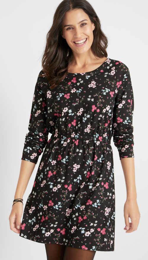 Květinové dámské šaty s dlouhými rukávy a žabičkovým stažením v pase
