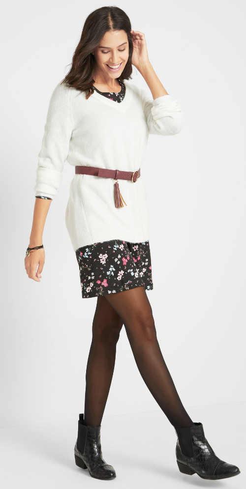 Květované jarní šaty k nošení pod svetr