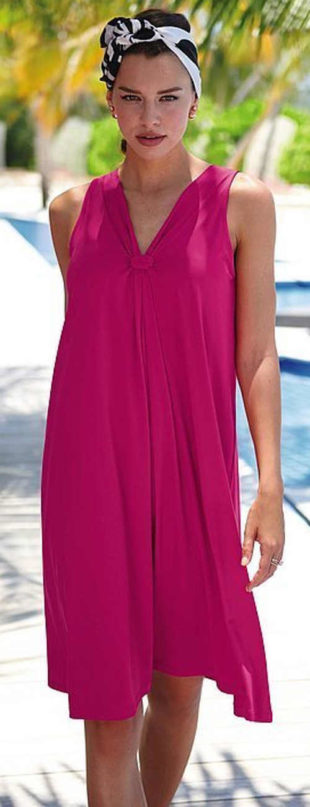 Lehké letní fialové dámské šaty na ramínka