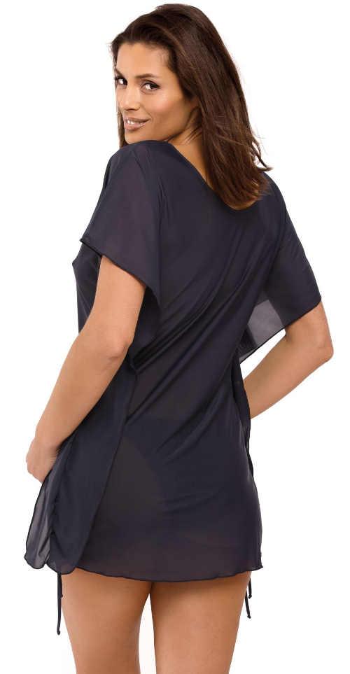 Lehké poloprůsvitné jednobarevné plážové šaty