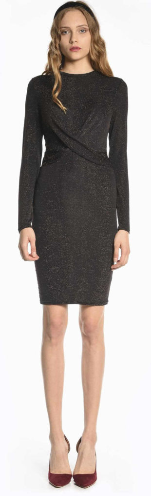 Levné černé společenské šaty s třpytivým efektem