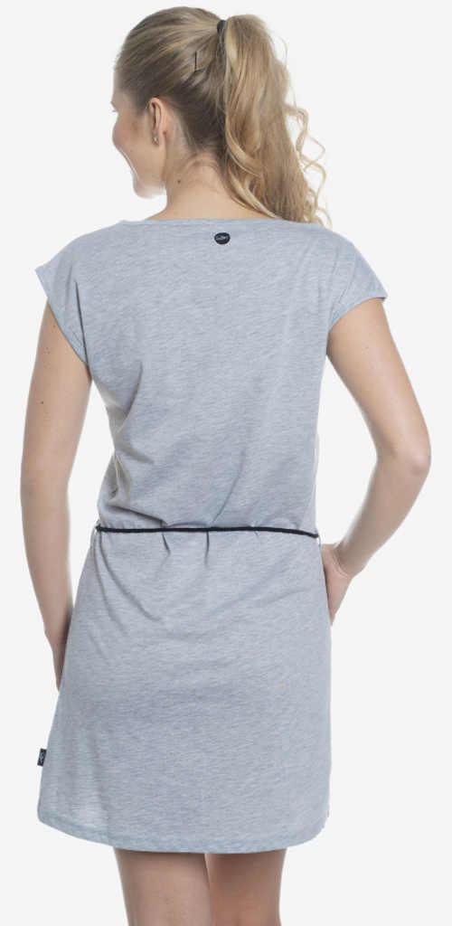 Šedé tunikové dámské šaty s provázkovým páskem