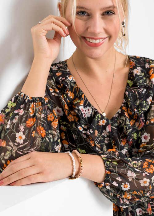Šifonové dámské šaty s širokými rukávy