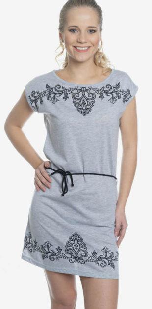 Zlevněné šedé letní šaty s květinovou výšivkou