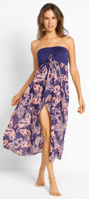 Bezramínkové letní šaty s dlouhou květovanou sukní