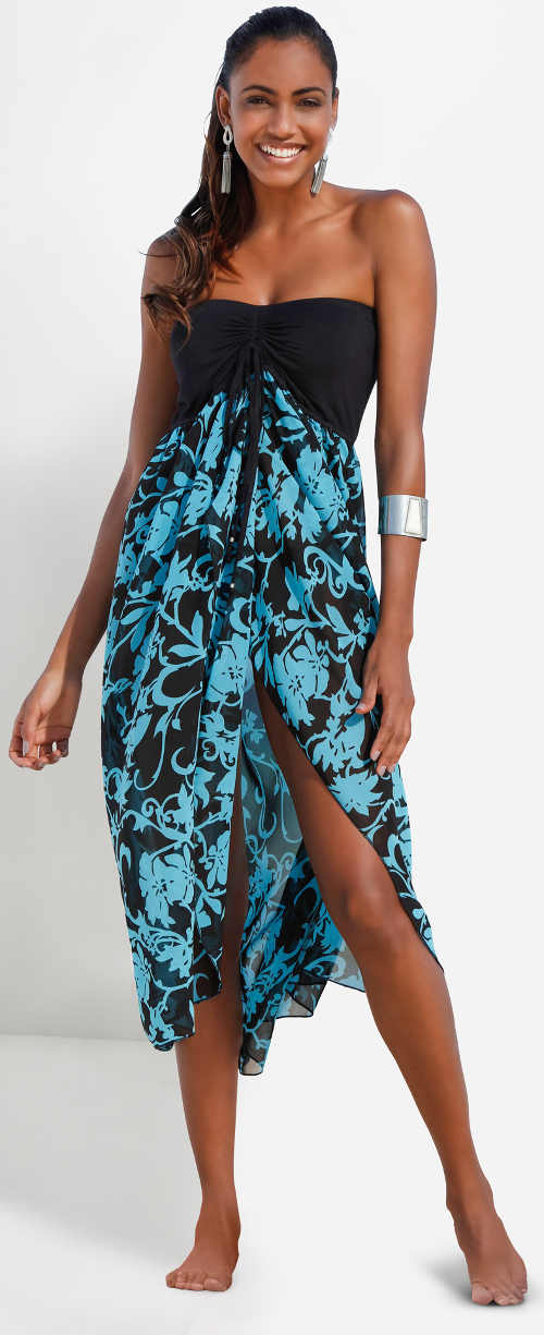 Bezramínkové plážové šaty s dlouhou sukní
