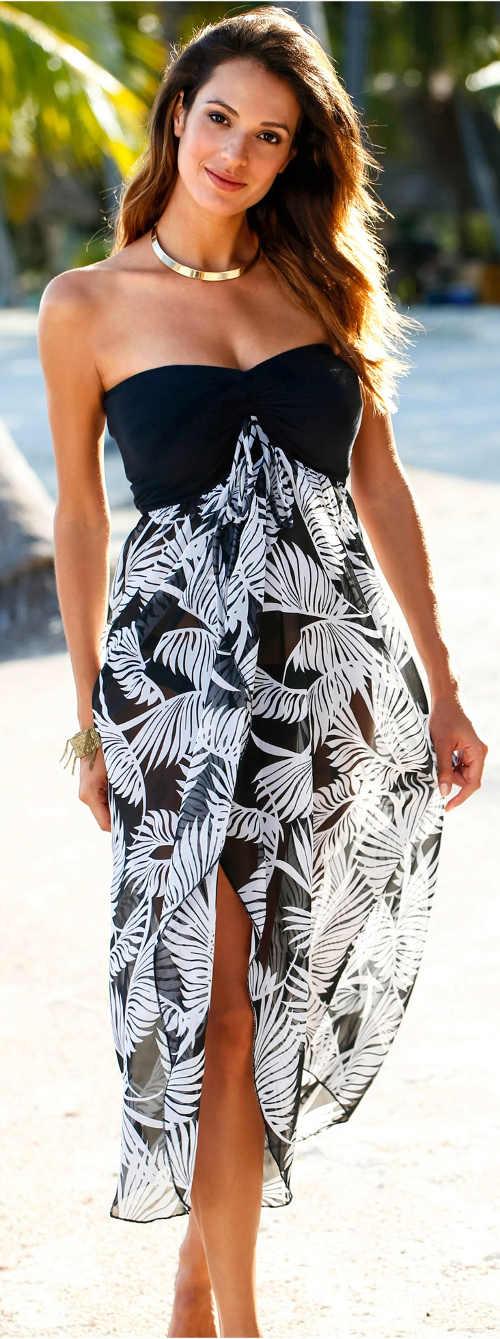 Černobílé vzdušné letní šaty bez ramínek