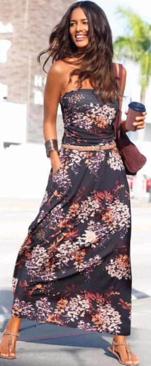 Dlouhé letní květované šaty bez ramínek