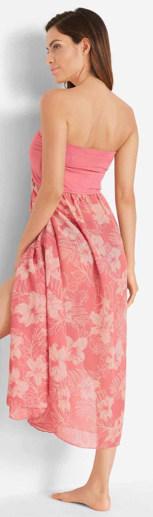 Dlouhé letní růžové šaty nad prsa