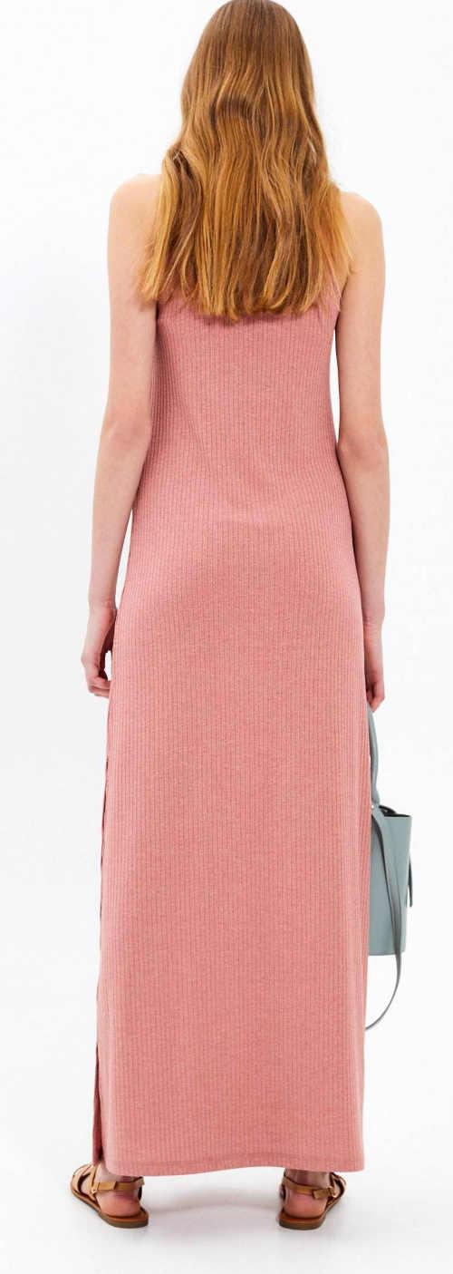 Dlouhé růžové letní šaty bez rukávů