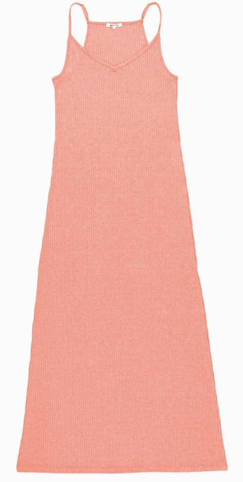 Dlouhé růžové letní šaty s tílkovým horním dílem