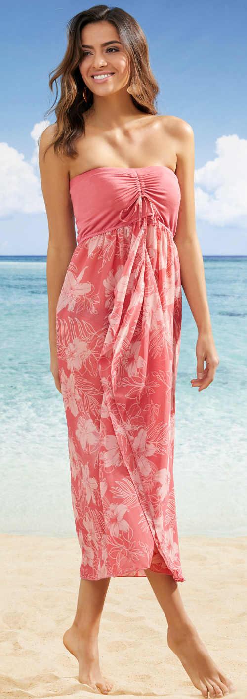 Dlouhé růžové plážové šaty bez ramínek